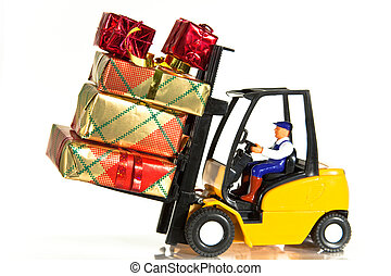 Forklift and presents