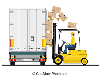 Forklift and trailer on a white background. Vector.