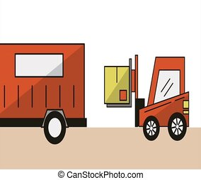forklift and truck delivery service animation