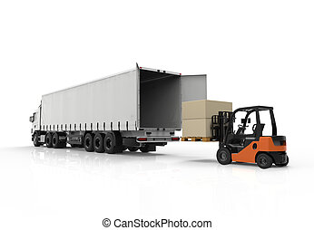 Forklift and truck - 3d render of forklift loading a truck