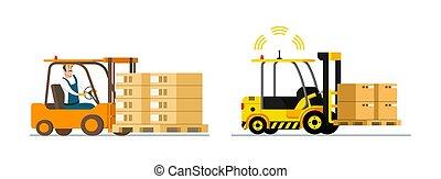 forklift, automático, man-driven, esperto, logistic.