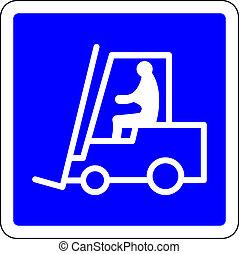 Forklift blue sign