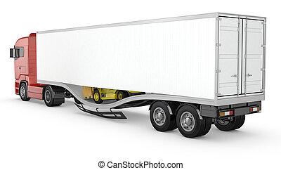 Forklift breaks trough semi-trailer floor, accident,...