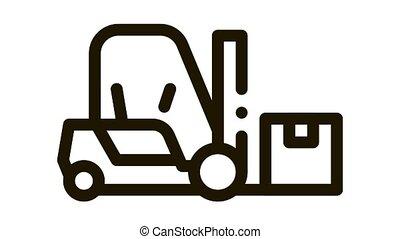 forklift car Icon Animation. black forklift car animated icon on white background