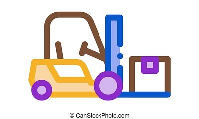 forklift car Icon Animation. color forklift car animated icon on white background