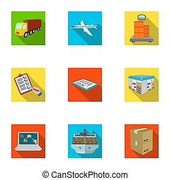 Forklift, cargo plane, goods, documents and other items in the delivery and transportation. Logistics and delivery set collection icons in flat style isometric bitmap, raster symbol stock illustration web.