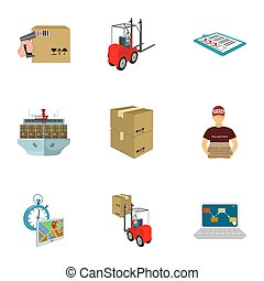 Forklift, cargo plane, goods, documents and other items in the delivery and transportation. Logistics and delivery set collection icons in cartoon style isometric bitmap symbol stock illustration web.
