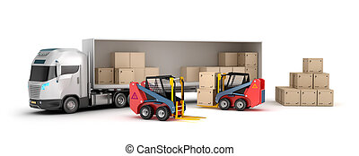 forklift, caricamento, camion