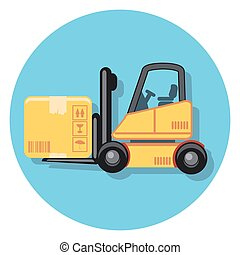 forklift circle icon with shadow.eps