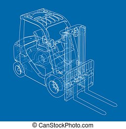 Forklift concept. Vector rendering of 3d. Wire-frame style. ...