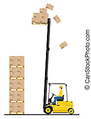 Forklift - Counterbalance forklift truck on a white...