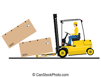 Counterbalance forklift truck on a white background. Vector.