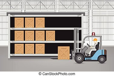 Forklift crate - Forklift working with wood crate with...