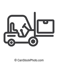 Forklift delivery truck line icon, logistic and delivery, cargo vehicle sign vector graphics, a linear pattern on a white background, eps 10.