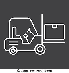 Forklift delivery truck line icon, logistic and delivery, cargo vehicle sign vector graphics, a linear pattern on a black background, eps 10.