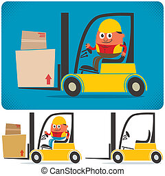 Cartoon illustration of forklift with and without driver. No transparency and gradients used.