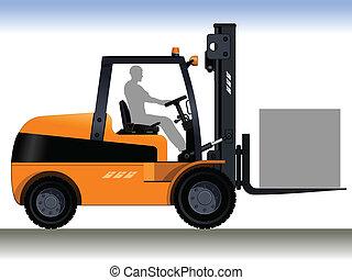 Orange forklift. A silhouette of a worker in a forklift. Vector illustration.