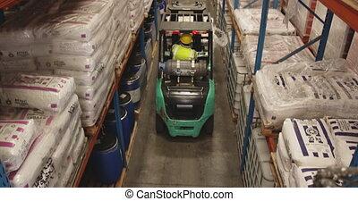 Forklift driving in warehouse 4k
