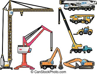 forklift, guindastes, jogo, excavator.
