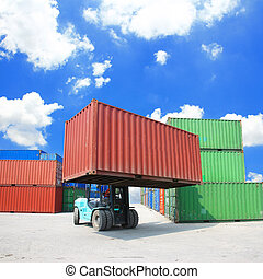 forklift handling the container box