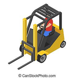 Forklift icon, isometric style