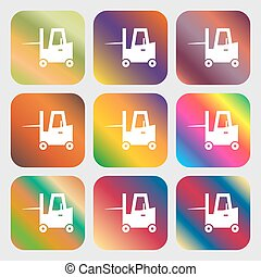 Forklift icon . Nine buttons with bright gradients for beautiful design. Vector