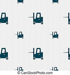 Forklift icon sign. Seamless pattern with geometric texture. Vector
