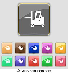 Forklift icon sign. Set with eleven colored buttons for your site. Vector