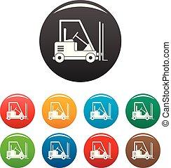 Forklift icons set color