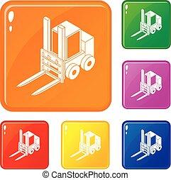 Forklift icons set vector color