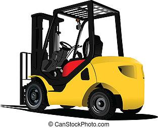 forklift., illus, truck., vetorial, elevador