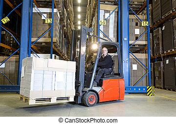 Forklift in front of storage racks