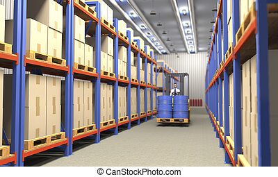 Forklift in industrial warehouse (3d illustration).