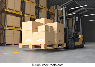 Forklift in the warehouse.