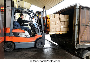 Forklift in warehouse - Electric forklift in warehouse...