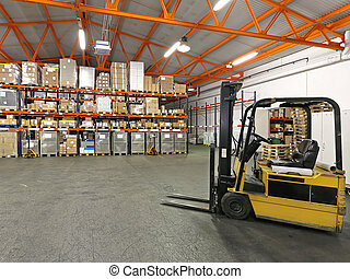Forklift in warehouse - Forklift in front of shelving system...