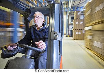 Forklift in Warehouse - Rig shot of a forklift driver,...