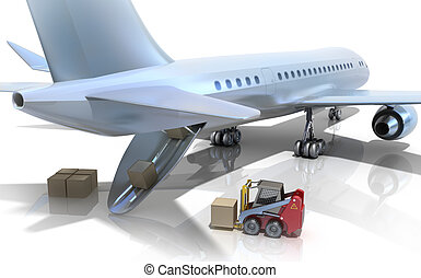Forklift is loading the airplane isolated on white