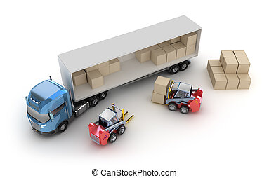 Forklift is loading the truck. Isolated. My own design