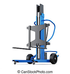 Forklift isolated on white background. 3d rendering