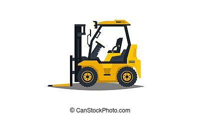 Forklift isolated on white background. Construction machinery. Car loader. Commercial Vehicles. Vector illustration. Flat style