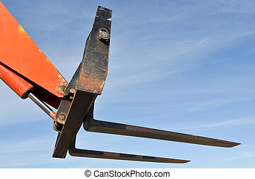 Forklift Lifter Close Up with Blue Sky