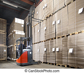 forklift lifting from top shelf