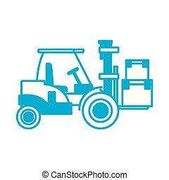 forklift loaded with cardboard boxes logistics and delivery