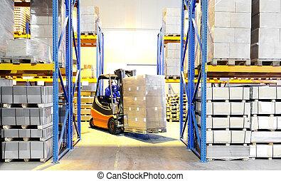forklift loader and worker at warehouse