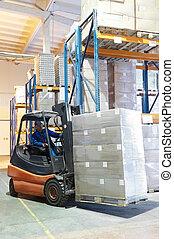 Forklift loader at a warehouse