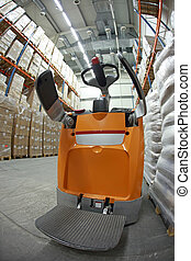 forklift loader in storehouse