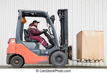 forklift loader with load