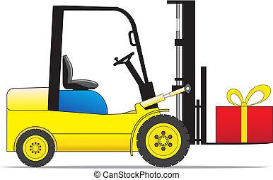 Forklift loader with present box