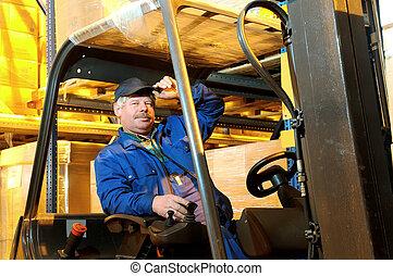 forklift loader worker at warehouse
